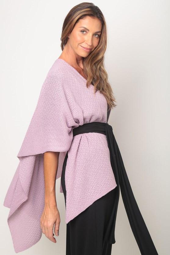Poncho tricot pontas lilás