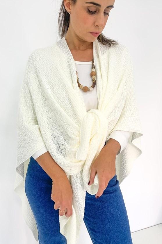 Poncho tricot pontas off white