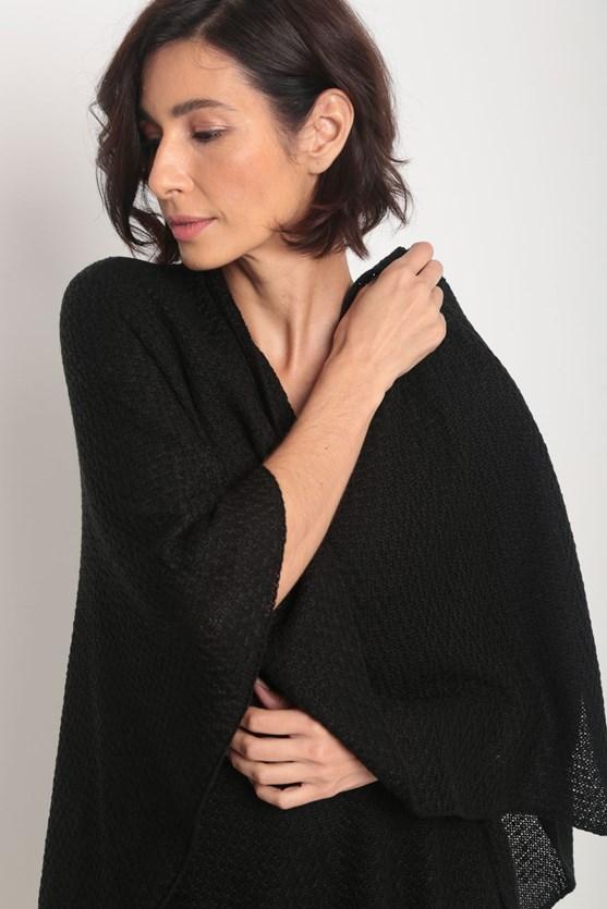 Poncho tricot pontas preto