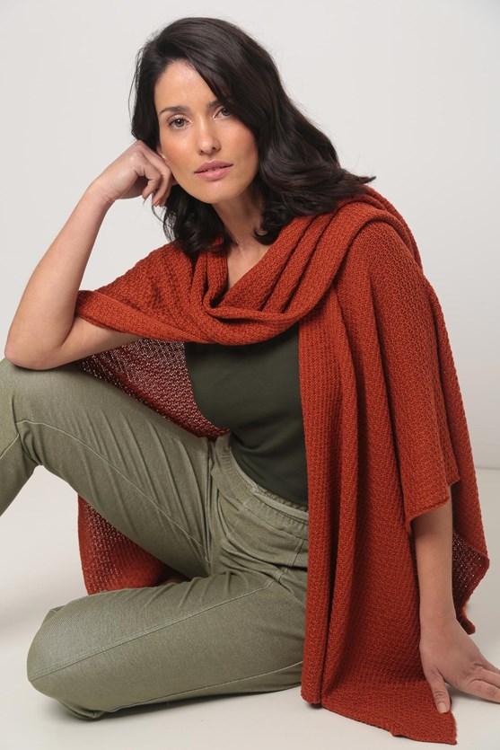 Poncho tricot pontas vermelho tijolo