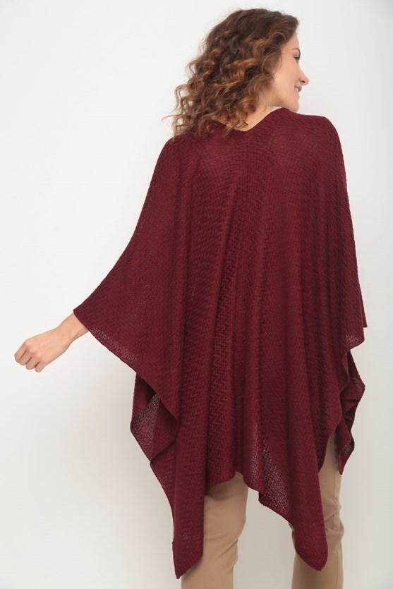 Poncho tricot pontas vinho