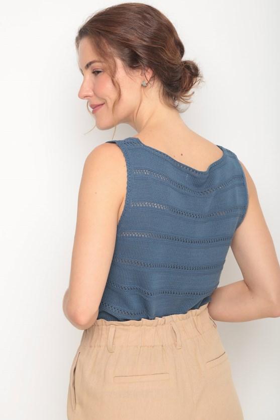 Regata tricot decote u ponto aberto az azul