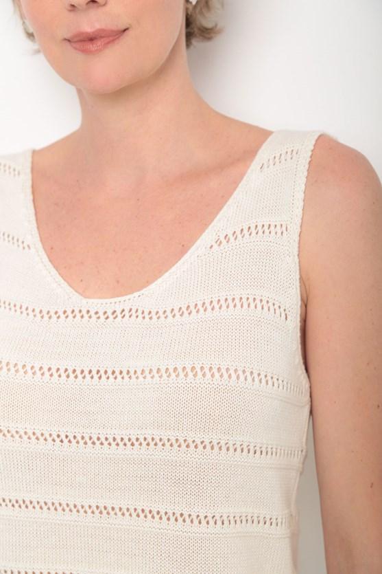 Regata tricot decote u ponto aberto off white