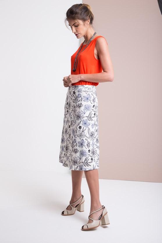 Saia com cós cintura linho flores contornadas off white