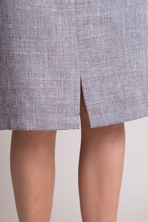 Saia Lápis Bolso Embutido Em Tweed