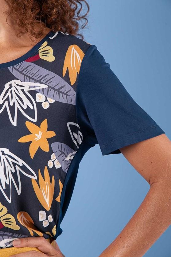 T-Shirt Decote U Manga Curta Flores Do Bosque