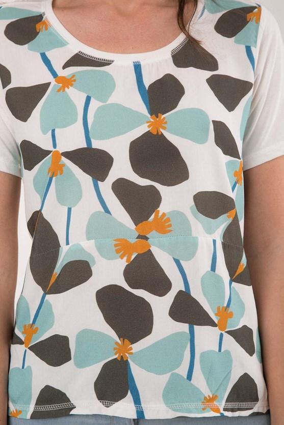 T-Shirt Decote U Viscose Flores