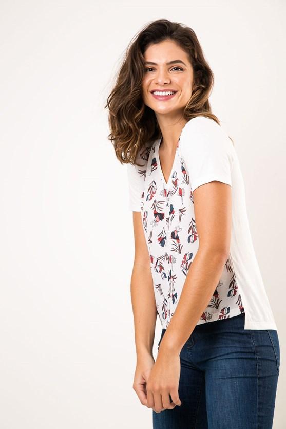 T-Shirt Decote V Bouquet De Flores