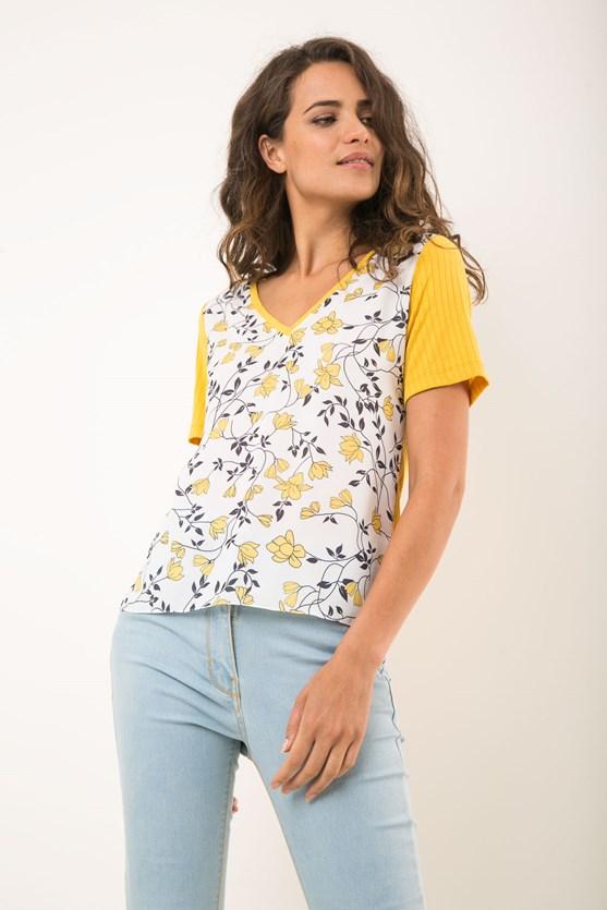 T-Shirt Decote V Canelado Jardim Secreto