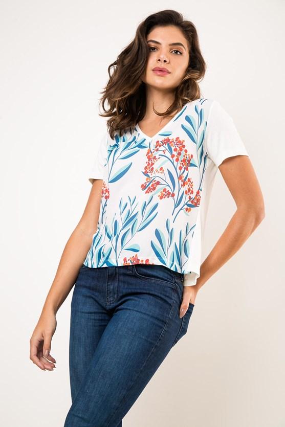 T-Shirt Decote V Folhas E Pois