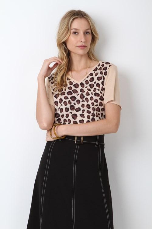 T Shirt Malha Flamê Leopardo