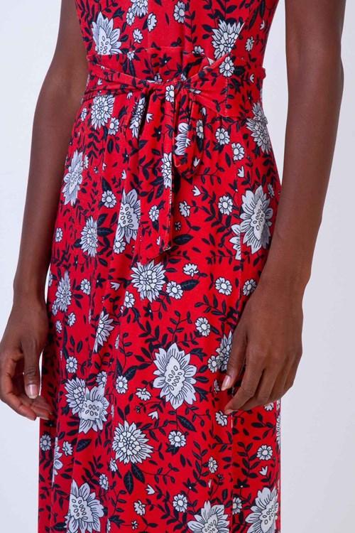 Vestido Amarração Cintura Midi Malha Tricot Flores E Folhas