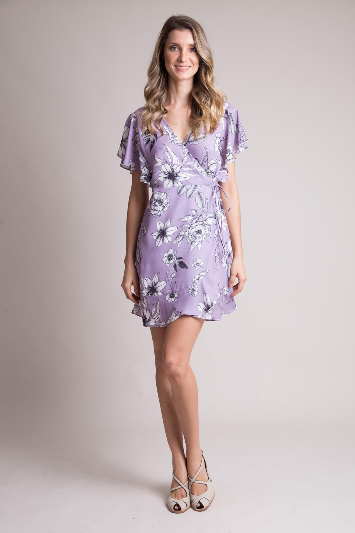 Vestido Cachecoeur Curto Em Crepe Flores Do Campo