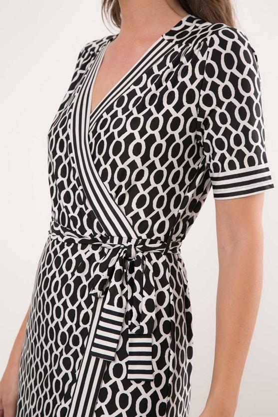 Vestido Cachecouer Jersey Barrado Geométrico Bicolor