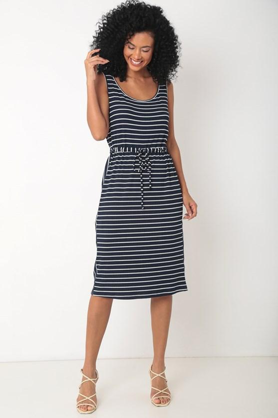 Vestido canelado recorte lateral vertical azul marinho