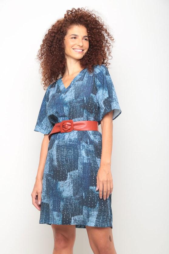 Vestido crepe nuances azuis azul marinho