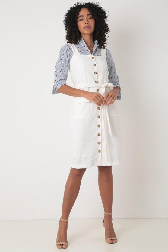 Vestido curto de algodão com botões off white