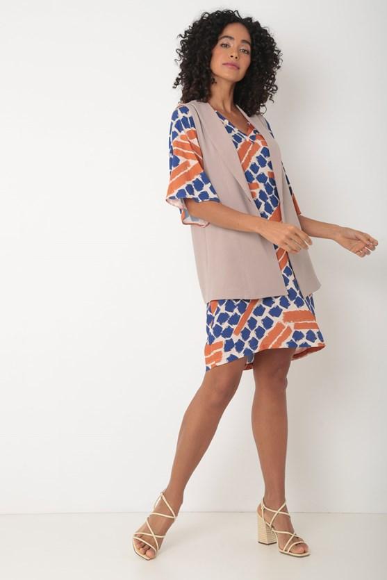 Vestido de viscose manga ampla decote v bege