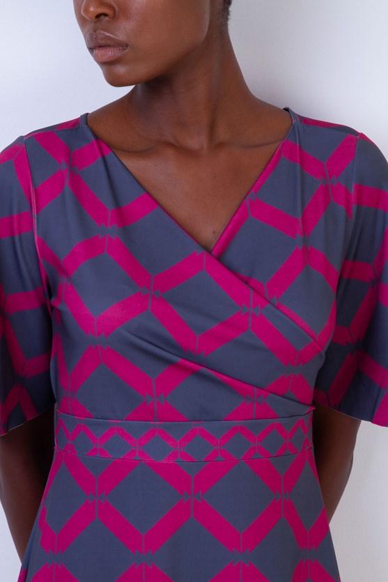 Vestido Decote Cachecoeur Jersey Mix Geométrico