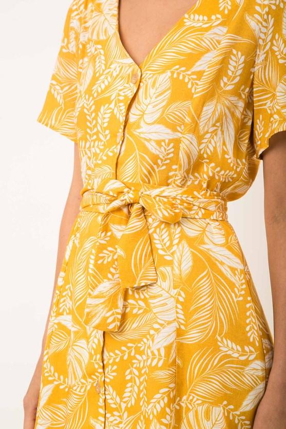 Vestido Decote V E Botões Modal E Linho Selva