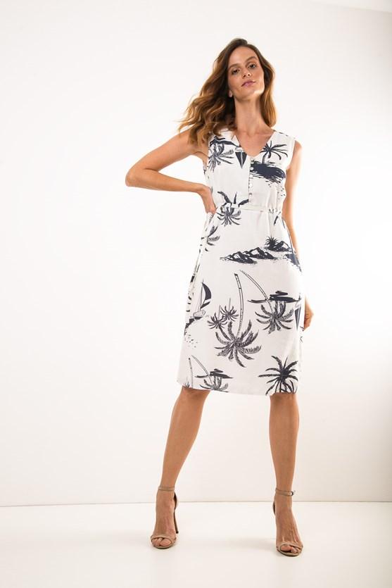 Vestido Decote V Linho E Modal Barulho Do Mar