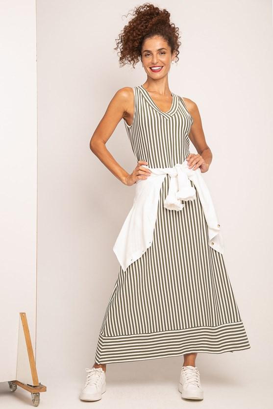 Produto Vestido Decote V Listras Barrado