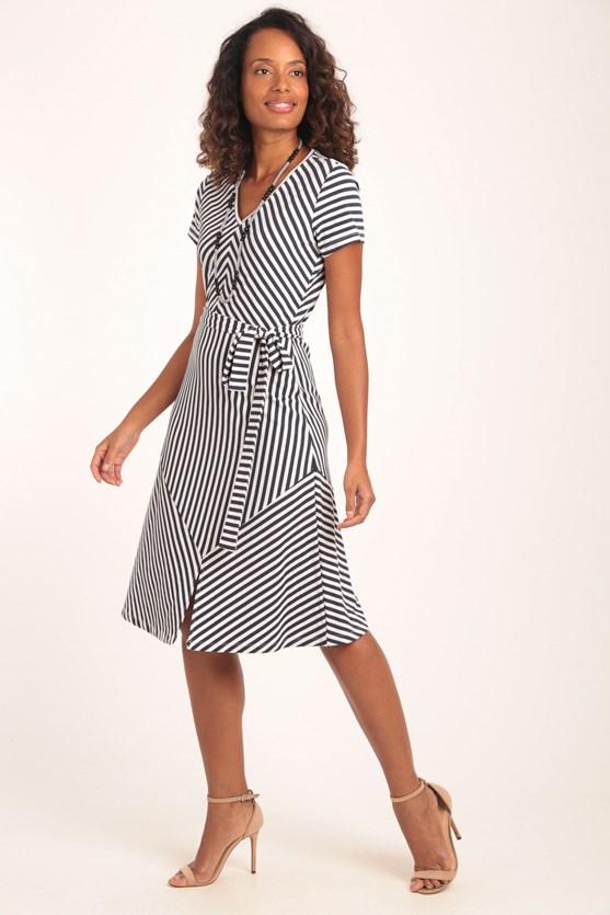 Produto Vestido Decote V Listras Irregulares