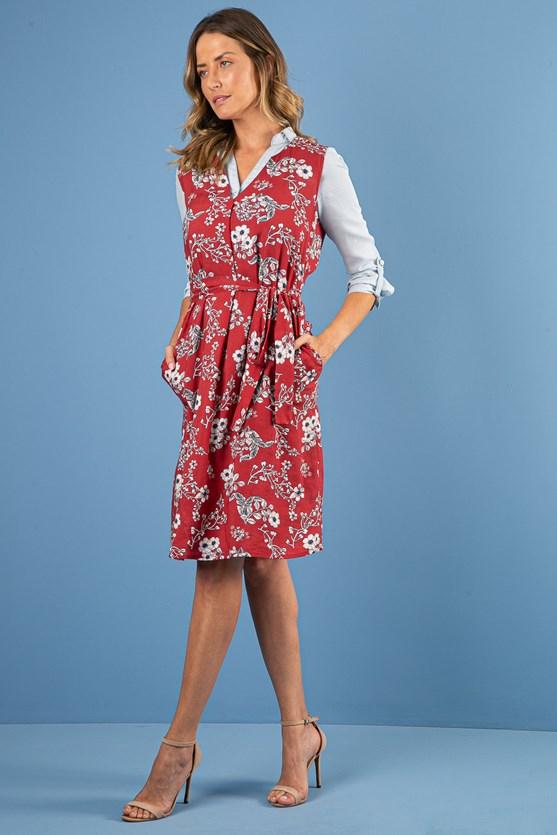 Vestido Decote V Transpassado Modal E Linho Amarílis