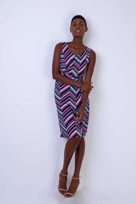 Vestido Entrelace Cintura Listras Diagonal
