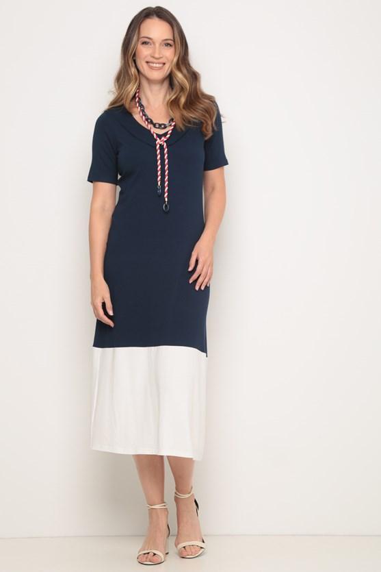 Vestido longo barra larga azul marinho