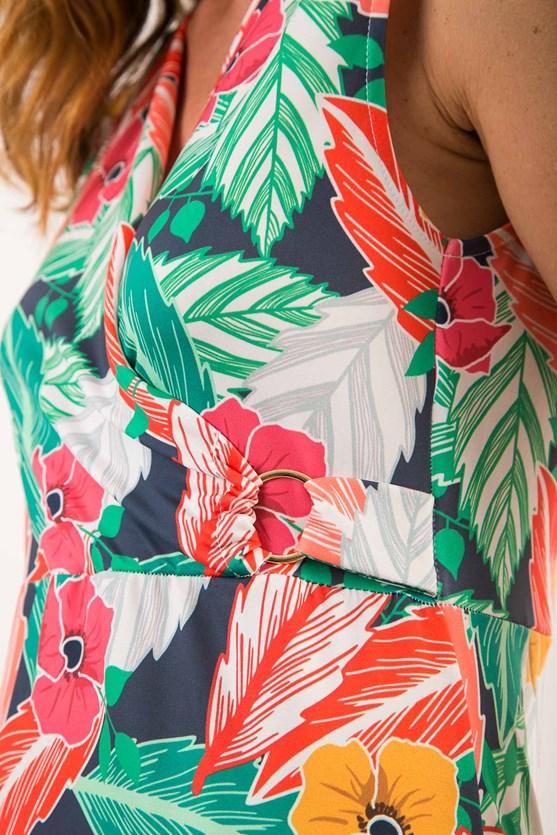 Vestido longo cachecoeur jersey encanto tropical azul marinho