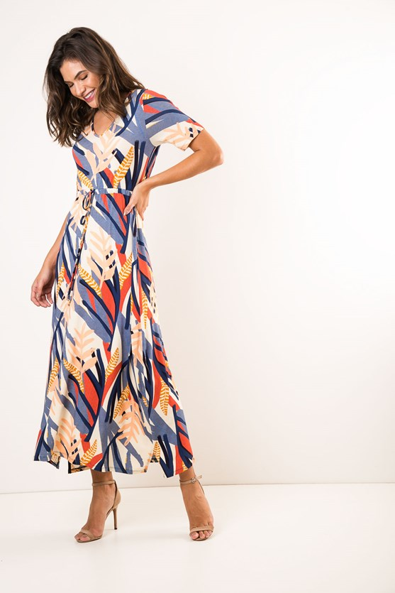 Vestido Longo Decote V Manga Curta Aura