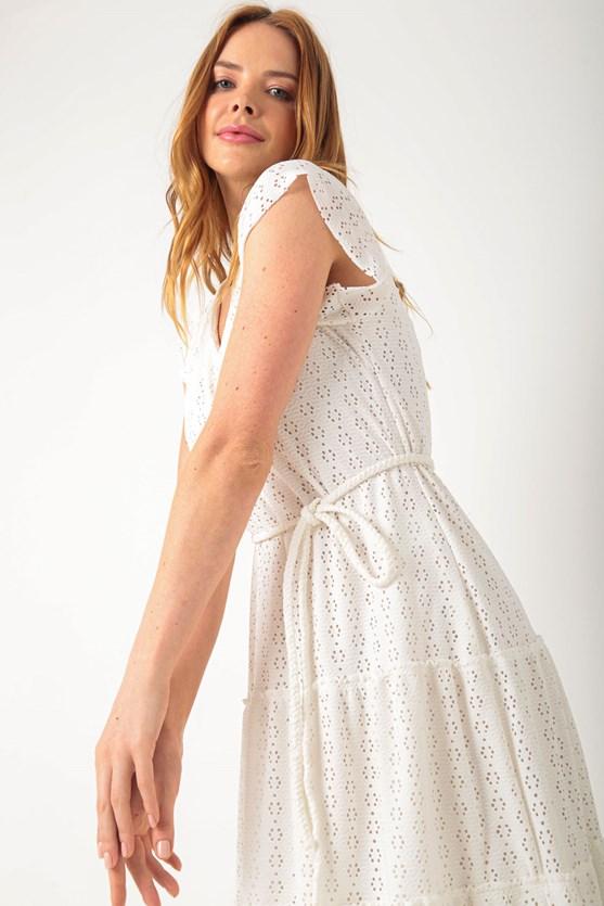 Vestido longo malha laise off white