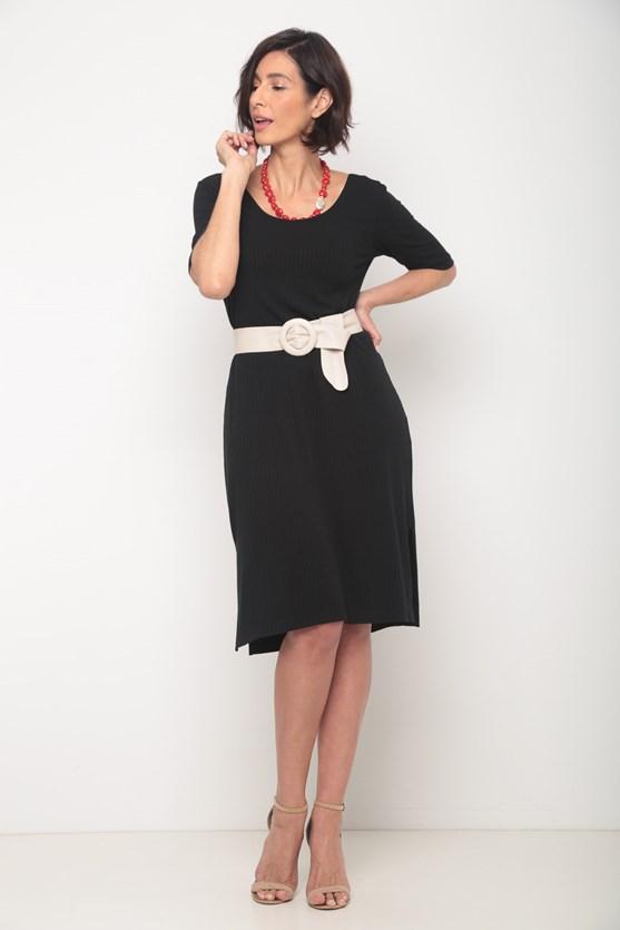 Vestido manga curta canelado decote redondo preto