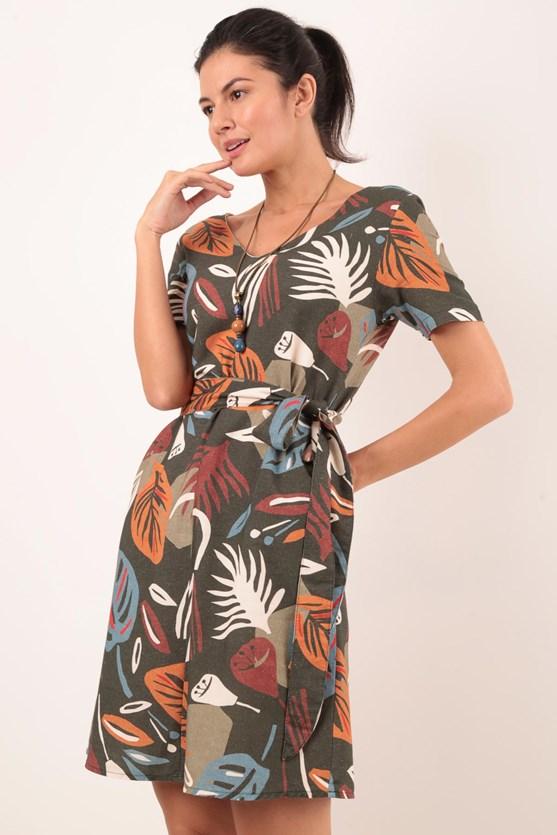 Produto Vestido Manga Curta Floral Origem