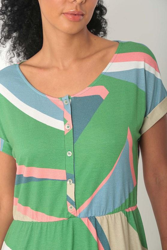 Vestido midi malha crepe estampa movimentos verde