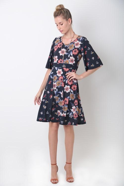 Vestido Midi Recortes Jersey Mix De Flores
