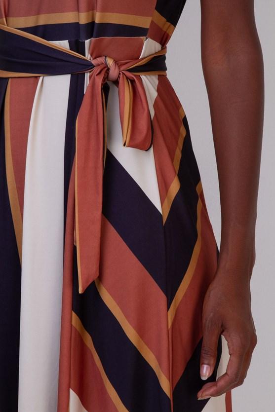 Vestido Recorte Jersey Listras Irregulares