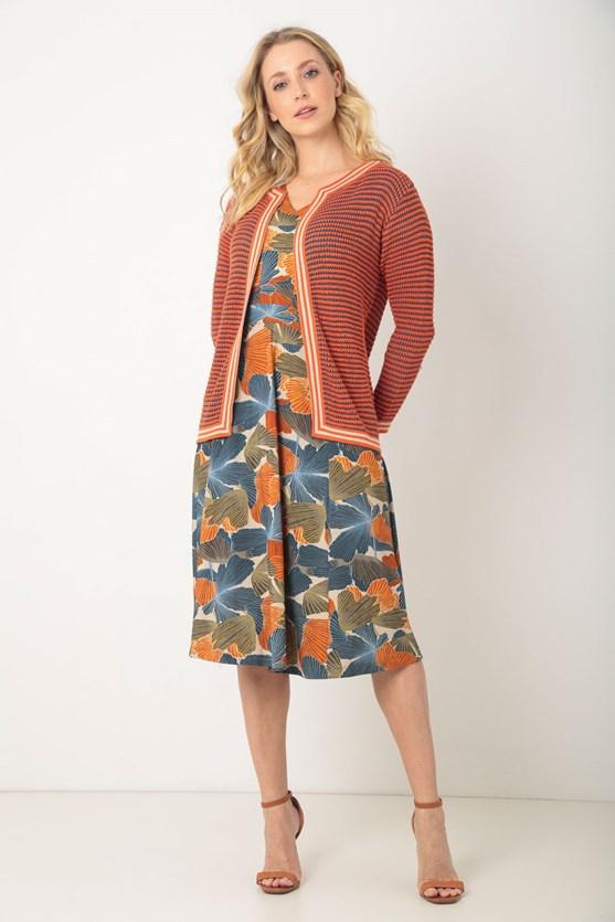 Vestido recortes caminho de folhas lj laranja
