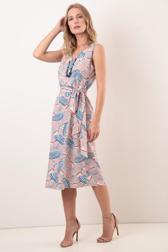 Vestido Sem Manga Decote V Modal Guarda Sol