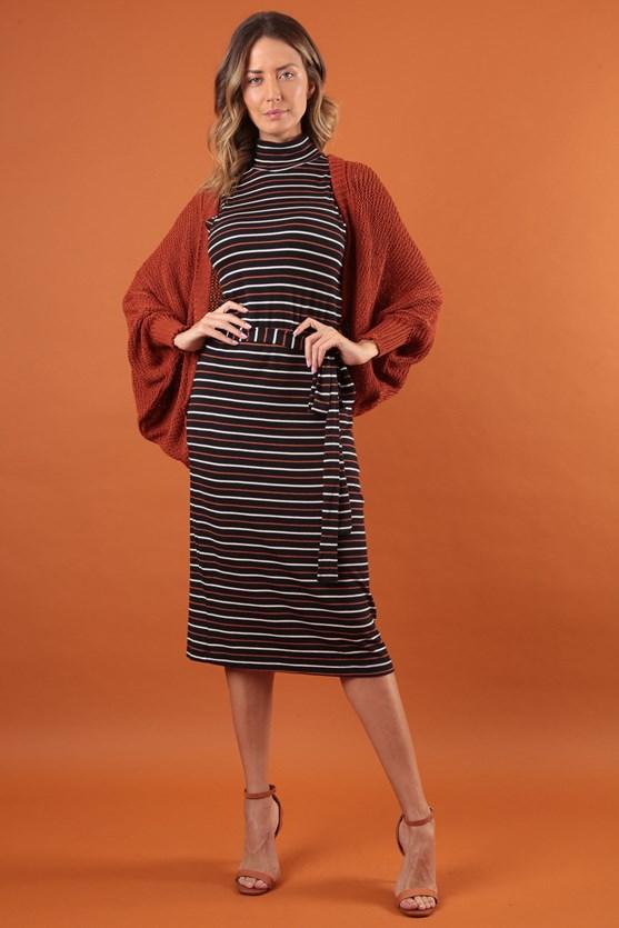 Produto Vestido Sem Manga Gola Alta Listrado