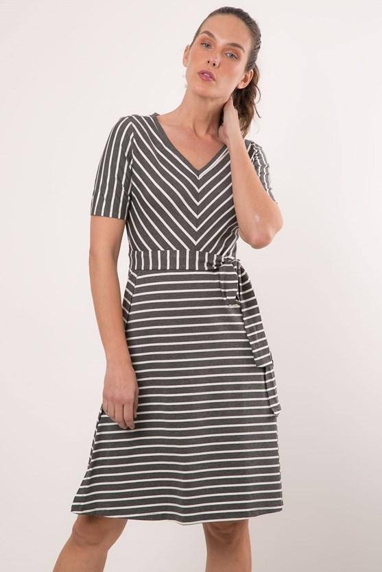 Vestido Viscolycra Aberturas Mix De Listras V