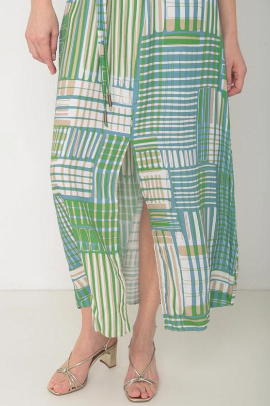 Vestido viscose detalhe manga abertura barra  az oceano